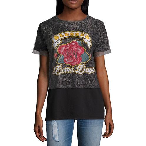 """Arizona """"Blessed. Better Days"""" Mesh Graphic T-Shirt- Juniors"""