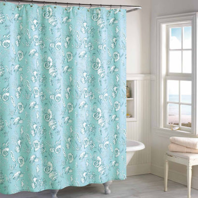 High Quality Destinations Seashell Toile Shower Curtain