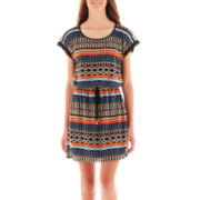City Triangles® Short-Sleeve Tribal Blouson Dress
