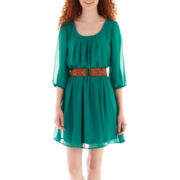 by&by® 3/4-Sleeve Aztec Print Belted Dress