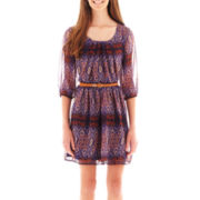by&by 3/4-Sleeve Aztec Print Belted Dress