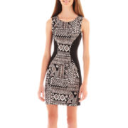 Bailey Blue Sleeveless Tribal Print Bodycon Dress
