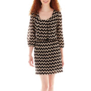 City Triangles® 3/4-Sleeve Chevron Print Belted Blouson Dress