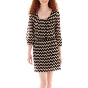 City Triangles® 3/4-Sleeve Chevron Print Belted Blouson Dress
