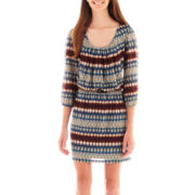 City Triangles® 3/4-Sleeve Print Belted Blouson Dress