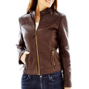 Blanc Noir Faux-Leather Shrunken Scuba Jacket