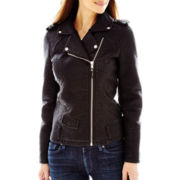 Blanc Noir Faux-Leather Shrunken Moto Jacket