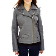Blanc Noir Faux-Leather Shrunken Moto Jacket