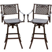 Sebastian Set of 2 Cast Aluminum Barstools