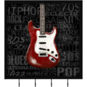 Red Guitar Wall Decor with Hooks