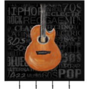 Orange Guitar Wall Decor with Hooks