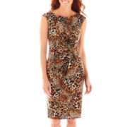Black Label by Evan-Picone Cap-Sleeve Side-Knot Dress