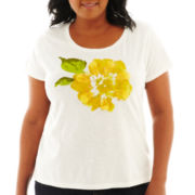 St. John's Bay® Short-Sleeve Floral Print Tee - Plus