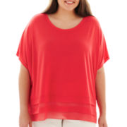 89th & Madison Short-Sleeve Swing Knit Top - Plus