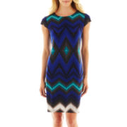 Liz Claiborne Short-Sleeve Tribal Print Shift Dress