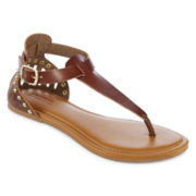 Covered Heel T-Strap Sandals