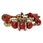Aris by Treska Red Bead 3-Row Coil Bracelet