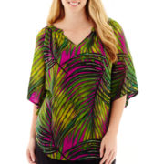 Worthington® 3/4 Dolman-Sleeve Print Blouse - Plus