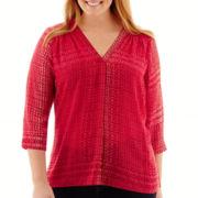 a.n.a® 3/4-Sleeve Smocked Shoulder V-Neck Blouse - Plus
