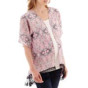 Maternity Short-Sleeve Crochet-Hem Kimono