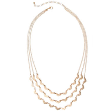jcpenney.com | a.n.a® Gold-Tone Three-Row Arrow Necklace