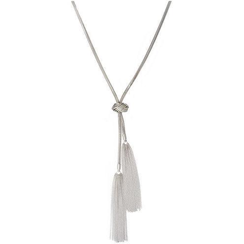 a.n.a® Silver-Tone Braided Tassel Necklace