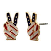 Mixit™ Flag Peace Sign Earrings