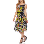 Robbie Bee® Sleeveless Chiffon Stripe Floral Fit-and-Flare Dress