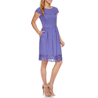 jcpenney.com | Chelsea Rose Cap-Sleeve Lace Trim Fit-and-Flare Dress