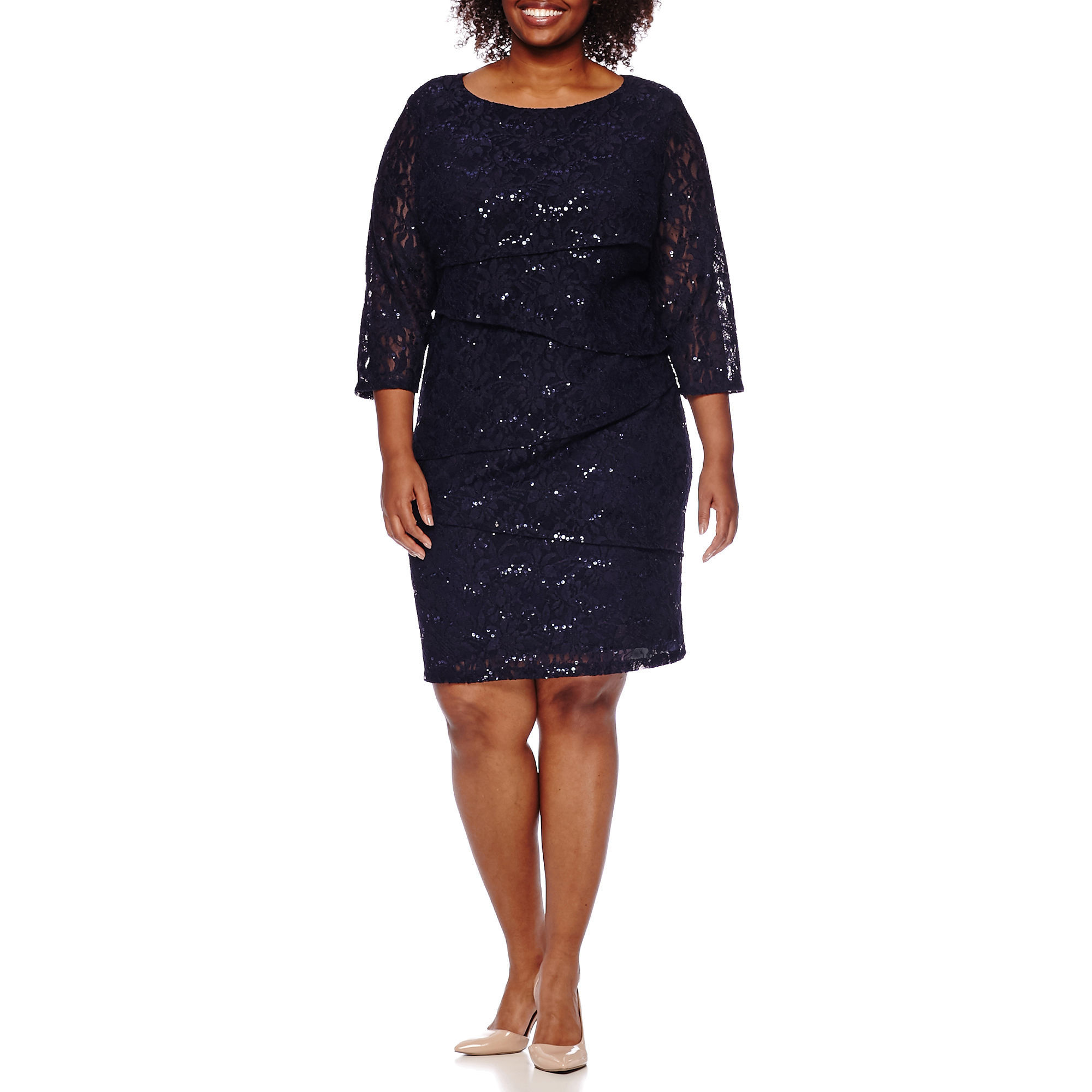RN Studio by Ronni Nicole 3/4-Sleeve Lace Tiered Sheath Dress - Plus