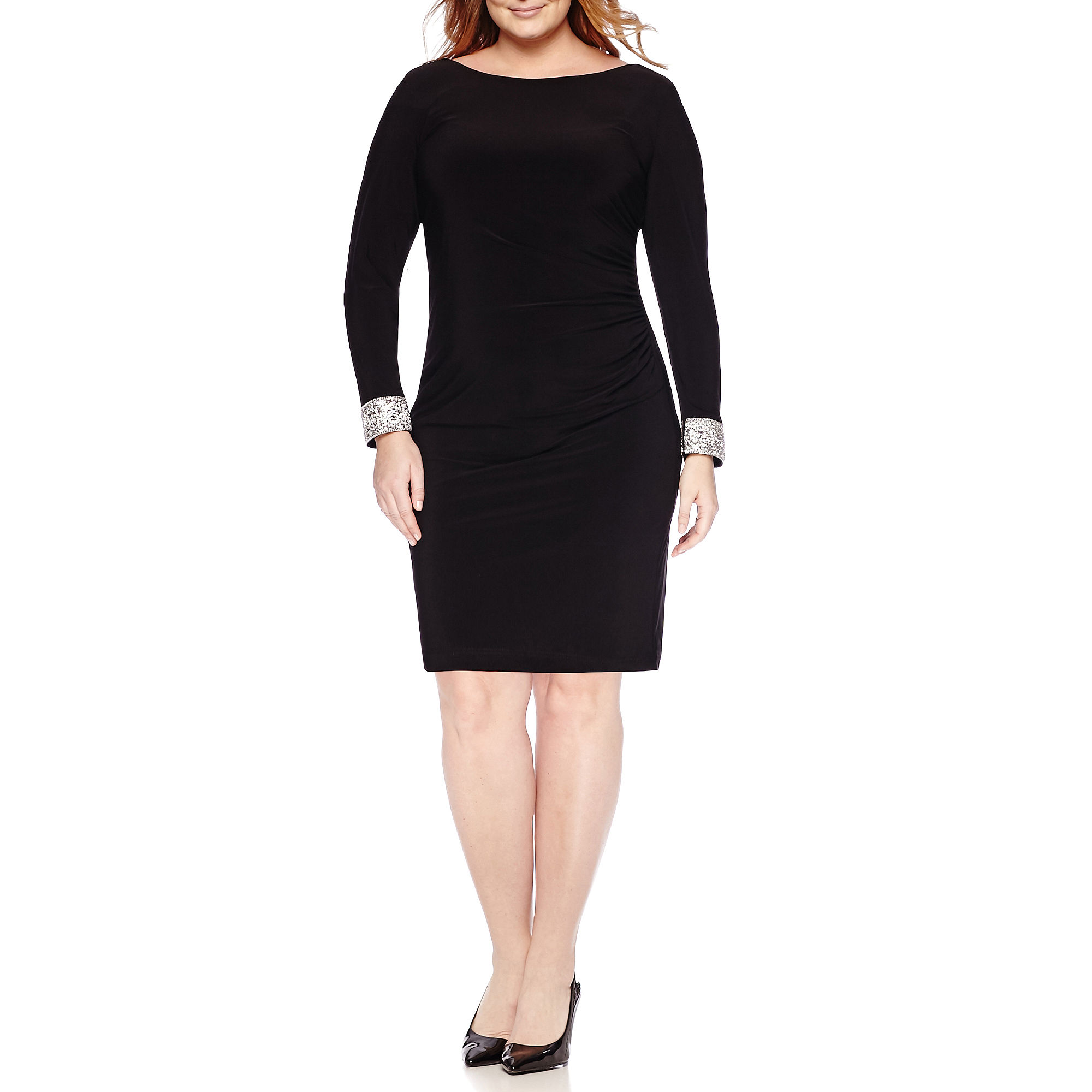 a8d42be98e87a UPC 659337591639 product image for Blu Sage Long-Sleeve Back-Drape Sheath  Dress - UPC 659337591639 product image for Side-Shirred ...