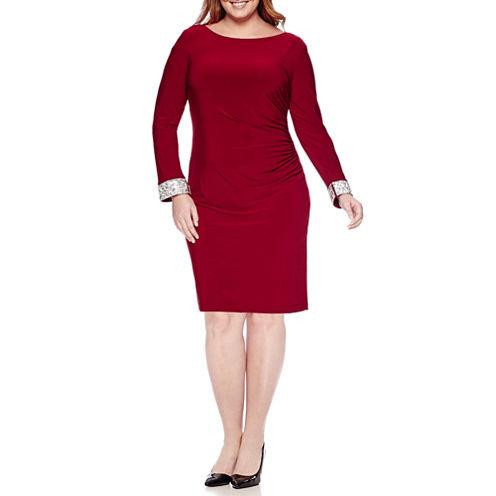 Blu Sage Long-Sleeve Back-Drape Sheath Dress - Plus