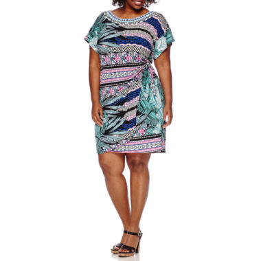jcpenney.com | Robbie Bee® Short-Sleeve Side-Tie Printed Sheath Dress - Plus