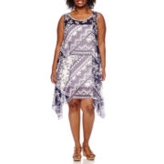 Robbie Bee® Sleeveless Printed Chiffon Sheath Dress - Plus