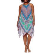 MSK Sleeveless Halter Printed Handkerchief-Hem Sheath Dress - Plus
