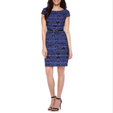 jcpenney.com | Alyx® Short-Sleeve Belted Sheath Dress - Petite