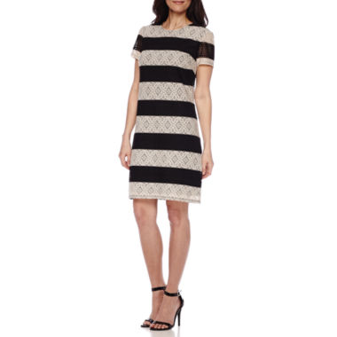 jcpenney.com | London Style Collection Short-Sleeve Stripe Lace Shift Dress - Petite