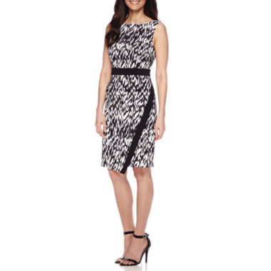 jcpenney.com | London Style Collection Sleeveless Faux Wrap Skirt Sheath Dress - Petite