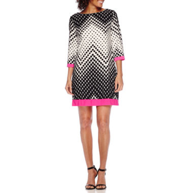 jcpenney.com | Studio 1® 3/4-Sleeve Chevron Dot Print Shift Dress - Petite