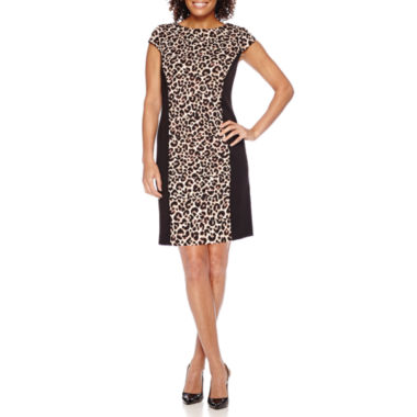 jcpenney.com | Studio 1® Long-Sleeve Animal-Print Sheath Dress - Petite