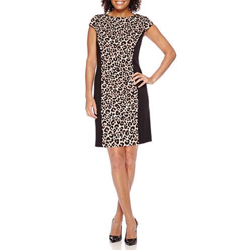 Studio 1® Long-Sleeve Animal-Print Sheath Dress - Petite