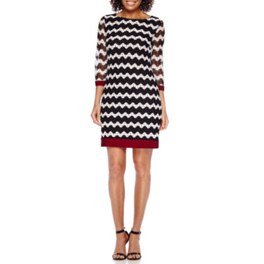 jcpenney.com | Studio 1® 3/4-Sleeve Chevron Knit Shift Dress - Petite