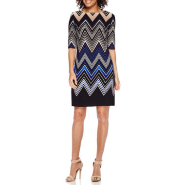 jcpenney.com | Studio 1® Elbow-Sleeve Chevron Striped Shift Dress - Petite