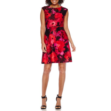 jcpenney.com | Studio 1® Short-Sleeve Floral Scuba Fit-and-Flare Dress - Petite