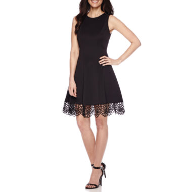 jcpenney.com | Donna Ricco Sleeveless Lace-Trim Fit-and-Flare Dress - Petite