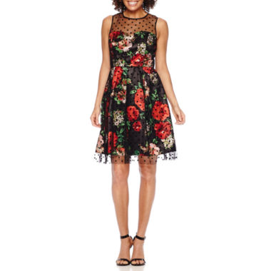 jcpenney.com | Studio 1® Sleeveless Floral Dot Fit-and-Flare Dress - Petite