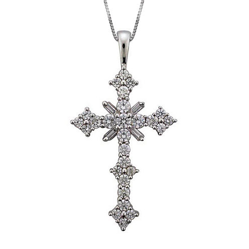 1½ CT. T.W. Certified Diamond 14K White Gold Cross Pendant Necklace