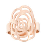 Rose IP Stainless Steel Flower Ring