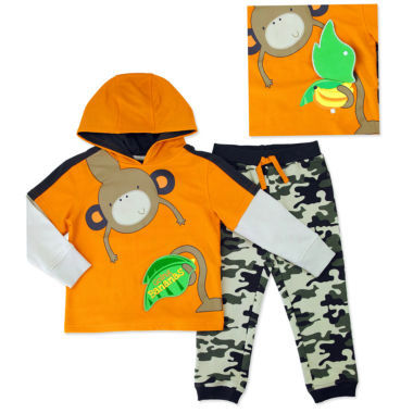 jcpenney.com | Novelty 2-pc. Orange French Terry Hoodie and Pants Set - Toddler Boys 2t-4t