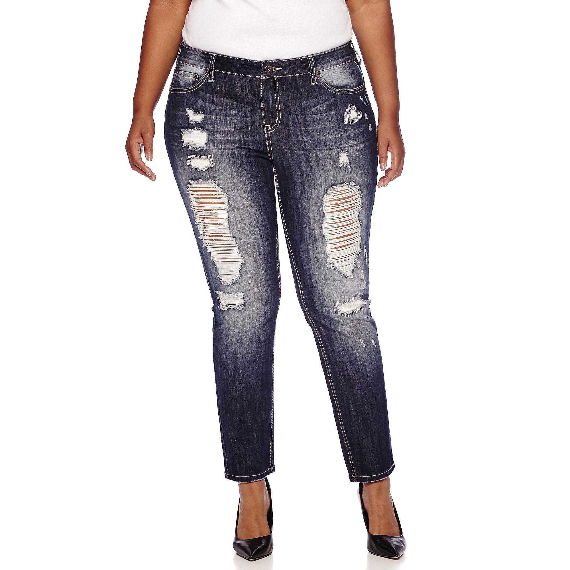 Soundgirl Destructed Skinny Jeans - Juniors Plus plus size,  plus size fashion plus size appare